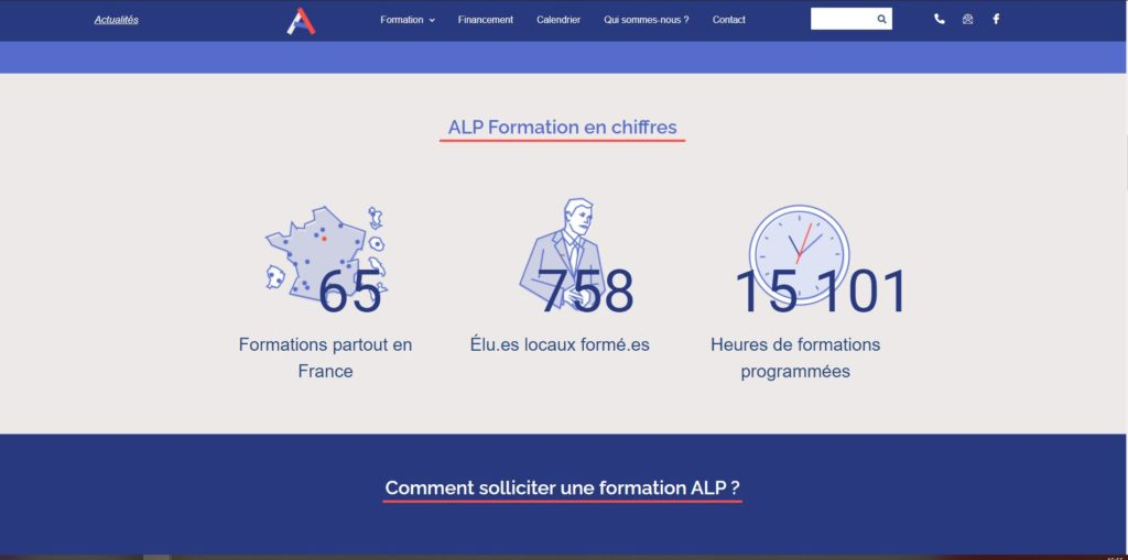 photo page accueil site vitrine alp formation