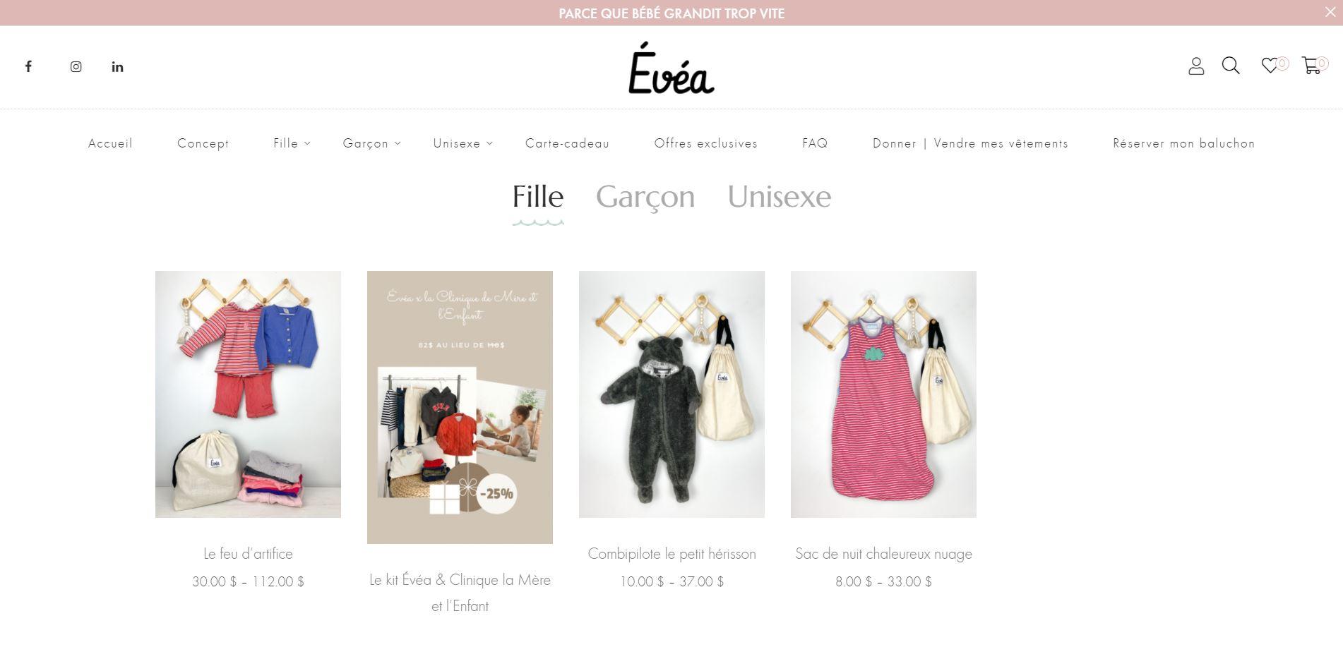 Création de site e commerce evea